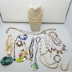 21 Piece Set of Shell Jewelry, Vintage and New
